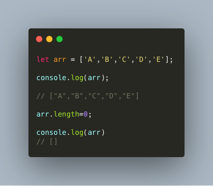 Screenshot of code showing how to empty array in Javascript
