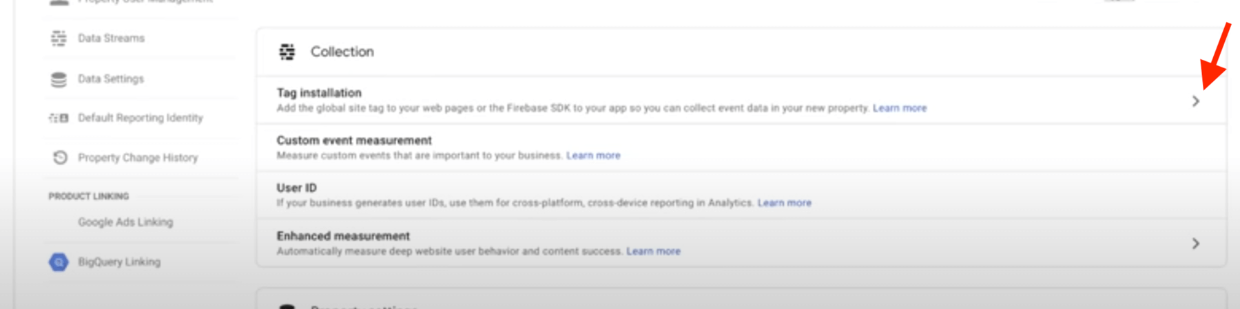 Screenshot of tag installation for Google Analytics 4.0