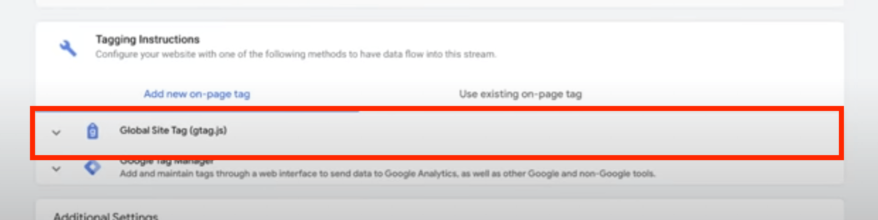 Screenshot of Global site tag for Google Analytics 4.0