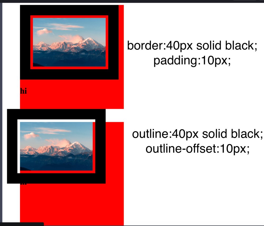 Screenshot of difference between border and outline - Pt 3